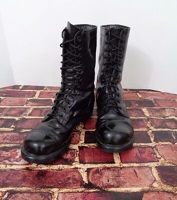 Vintage USA Made DOUBLE H HH Combat Black Leather Military Jump Boots 11E Grunge