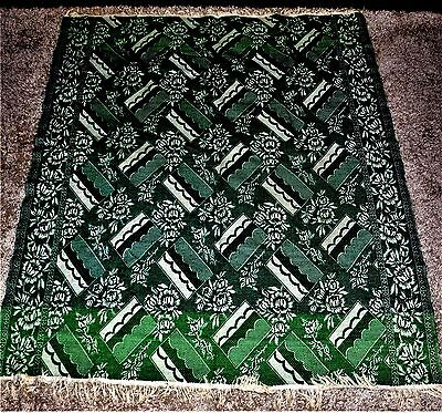 Antique Coverlet Kelly Green /White Floral /Geometric Design Estate Collection