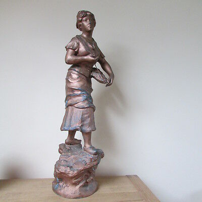 antique Victorian spelter woman with a basket of seafood signed Mestais France