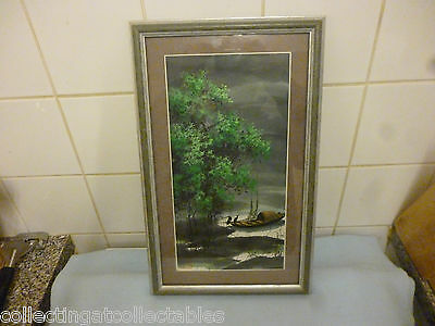 Framed Vintage Chinese Painting Of Chinese Junk Under Trees
