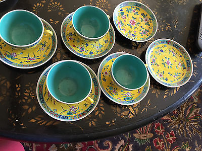 Quing or Republic Chinese Export Famille Rose Jaune Cups and Saucers