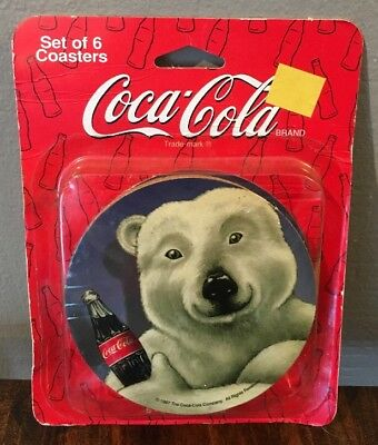 New Old Stock 1997 COCA COLA Polar Bear Pack Of 6 Drink Coasters