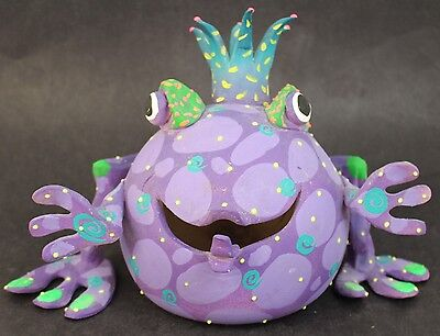 Festive Hand Painted Purple Polka Dotted King Party Frog Figurine