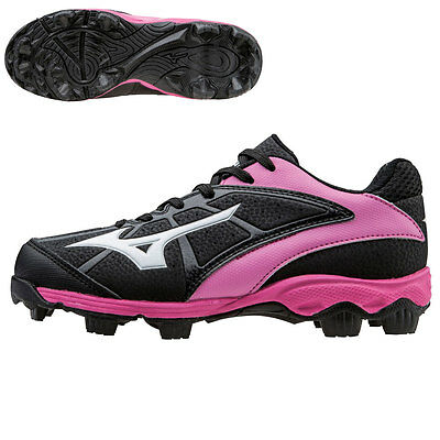 Mizuno 9-Spike Advanced Youth Finch Franchise 6 Softball Cleats, Black/Pink, 5.5