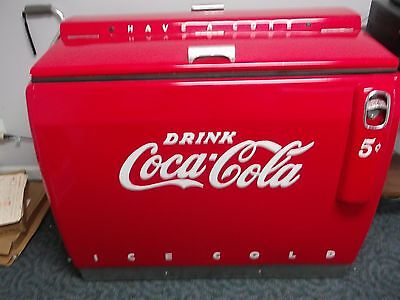 Vintage Coca Cola Red Electric Chest Cooler Runs & Cools.
