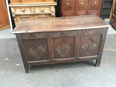 17th century carved oak coffer chest blanket sword chest