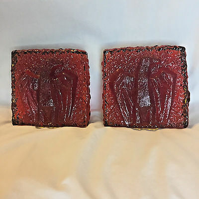 Blenko Glass Red Eagle Textured Bookends