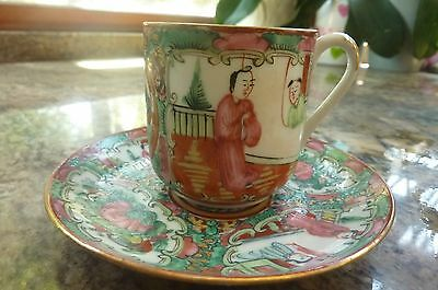 Famille Rose Medallion Demitasse And Saucer Decorated In Hong Kong