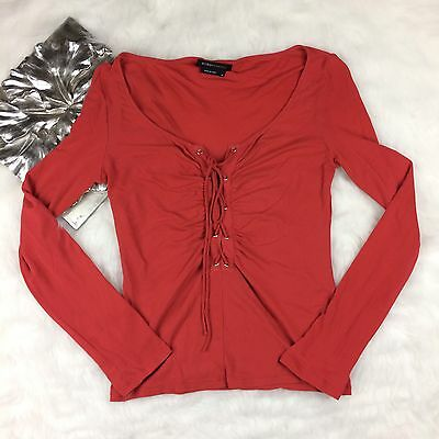 BCBG Red Long Sleeve Lace Up Tunic Top Size M Casual