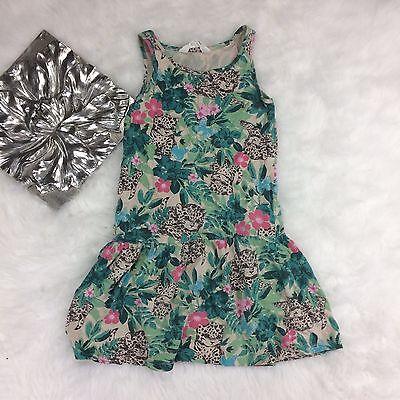 H&M HM Girls Youth Floral Hawaiian Tank Top Dress Size 6 8 Cotton Casual Summer