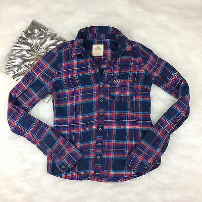 Hollister Red Blue Plaid Flannel Long Sleeve Top Size S Casual 100% Cotton