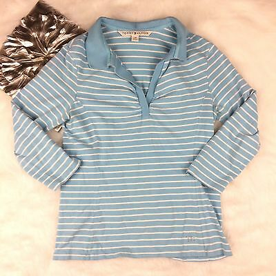 Tommy Hilfiger Womens Blue Striped 3/4 Sleeve Top Shirt Size L Casual Cotton