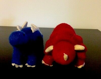 Machine Knitted Dinosaur Rattle Toy, Stegasaurus And Triceratops In Vgc