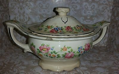 EDWIN M KNOWLES CHINA Double Handled Sugar Bowl Manufactured January 1936, FLAWS