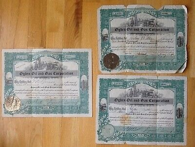 1918 Ogden Oil and Gas Corporation stock certificates lot of 3 Utah raised seals