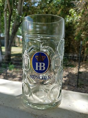 Hofbrau 1 liter Glass Dimple Mugs - New!