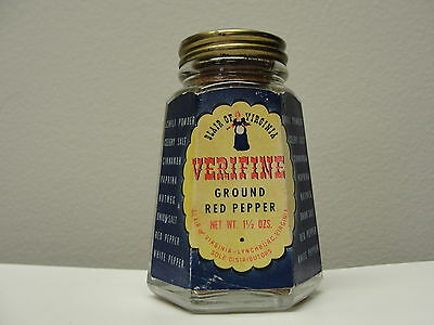 Vintage Spice Tin Verifine Ground Red Pepper Advertising Shaker Jar, Paper Lable