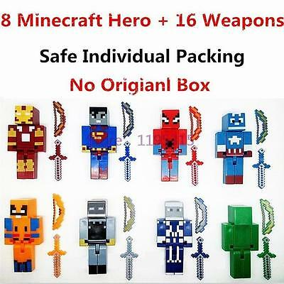 8 Minecraft Style Marvel/DC Superhero Custom Toy Figures With 16 Weapons