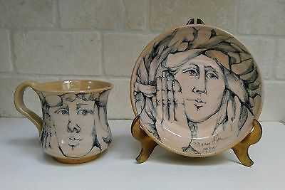 Mary Lou Higgins Studio Pottery 1 cup and 1 plate