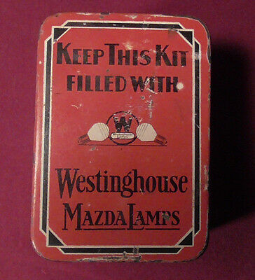 Vintage Westinghouse Mazda Lamps Advertising Metal Tin With Bulbs