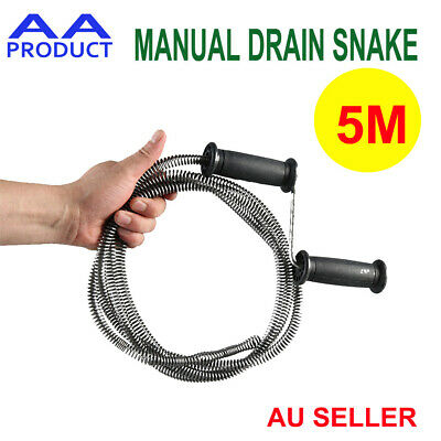 5M Manual Plumber's Drain Snake Cleaner Unblocker for Sink Waste Pipe Sewer