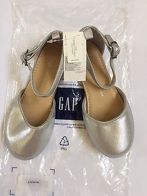 Baby Gap Toddler Kids Girls' Silver Ankle Strap Flats Shoes - size 11 NWT