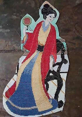 Asian Bright Cross stitch Lady Chinese oriental Applique Craft Completed Scrap