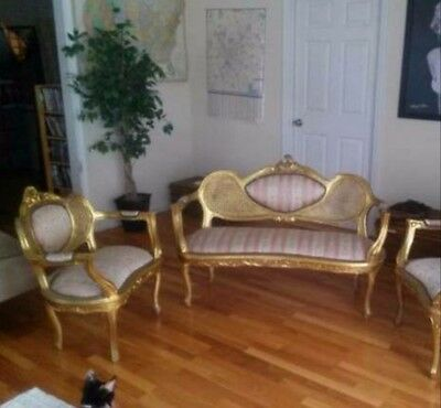 UNIQUE ANTIQUE COMPLETE FRENCH ROCOCO PARLOR, sofa plus two armchairs -