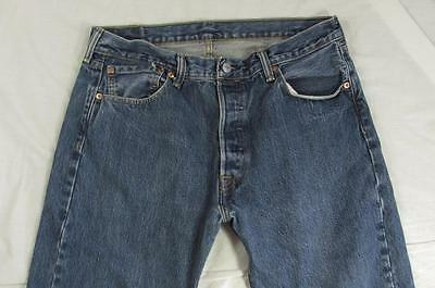 Levi 501 Button Fly Straight Leg Faded Denim Jeans Tag 34x34 Measure 34x33