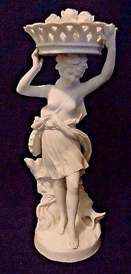 SEVRES-STYLE Porcelain PARIAN Bisque WOMAN with BASKET OF ROSES & TAMBOURINE