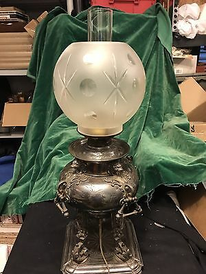 Vintage Ornate Victorian Silver Plate Banquet/Parlor    Oil Lamp W/Cut Shade