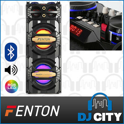 Fenton LIVE2101 Powered Party Speaker System Dual 10-Inch Woofers w/ LED Lights