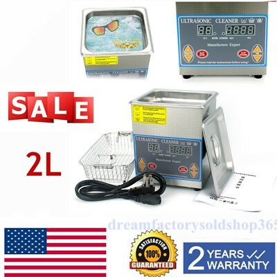2L Stainless Steel Digital Ultrasonic Cleaner Industry Heated Heater w/Timer US