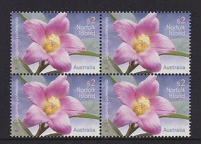 Norfolk Island 2017 : Flowers - Block of 4 x $2 Decimal Stamps, MNH