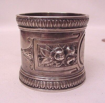 Beautiful Antique Victorian Wood & Hughes Heavy Sterling Napkin Ring Floral