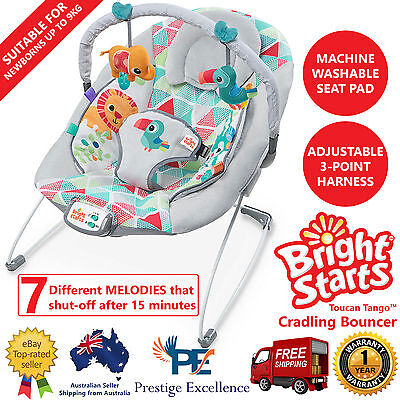 Bright Starts Toucan Tango Infant Toddler Cradling Bouncer Seat 7 Tunes Melodies