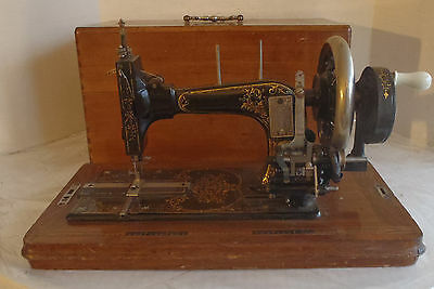 Antique Frister Rossmann Hand Crank Sewing Machine in Wood Case no Key, Works