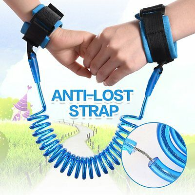 Child Kids Anti-lost Safety Harness Strap Wrist Link Rein Traction Rope Leather