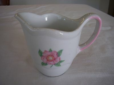 Shenango China Restaurant Ware Creamer Pink Flower Green Leaves Scalloped Design