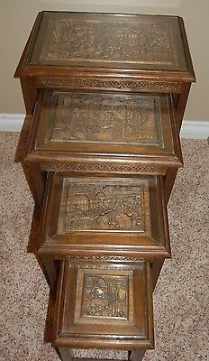 Lot of 4 Vintage Carved Chinese Stacking Nesting Step Tables with Glass Tops