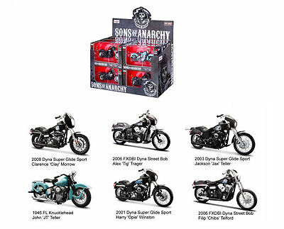 Sons of Anarchy Bikes - 1:18 Maisto Complete Set of 6 SOA Diecast Harley NEW