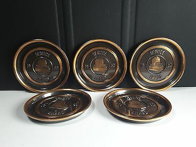 Set Of 5 Vintage Hyde Park 1960 Service Award Copper Coasters