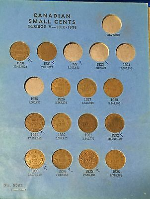 Partial Canadian Small Cent Collection - 20-21, 26-48, 50-72