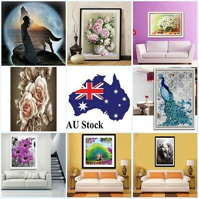 AU 5D Diamond Embroidery Painting Flower Peacock Cross Stitch Home Room Decors