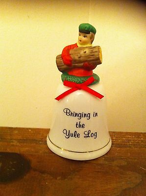 Christmas vintage Precious Memories handcrafted porcelain holiday bell Yule Log