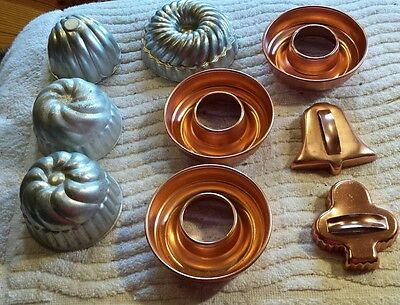 Lot of 9 Vintage Aluminum, Copper & Jell-O  Cake Candy Molds Cutters Free Shippi