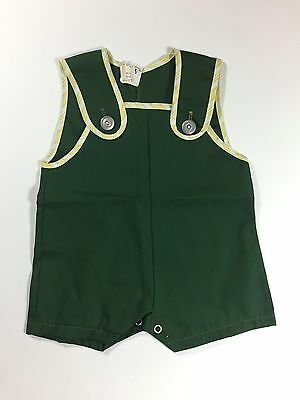 NWT Vintage Green Baby Romper Striped NOS One Piece Shorts Play Suit Sz 12 M