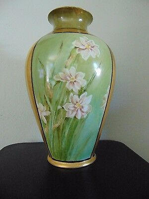 "PL Limoges France Hand Painted Floral Vase Signed E. Hines 13.5"" Tall"