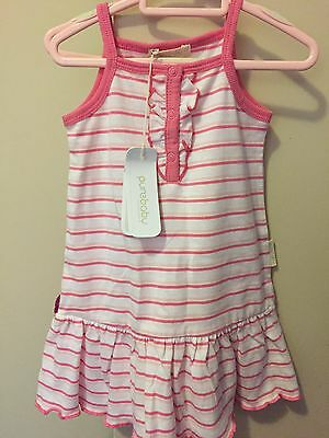 PUREBABY BABY GIRL Pink And White DRESS.  SIZE 00. NEW WITH TAGS