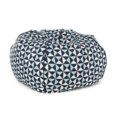 Bean Bag EXTRA LARGE Blue White Geometric Triangle 300L Modern TV Chair Seat